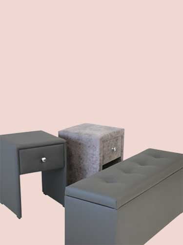 Accessoires LUNELY : table de chevets, coffres et tablettes